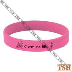 Bracelet en silicone rose
